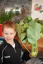 Aidan is excited about kohlrabi!