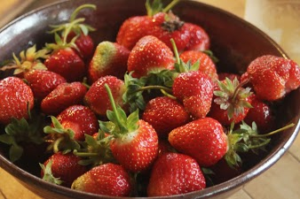 Season's first strawberries