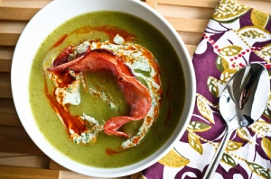purple potato and poblano pepper soup
