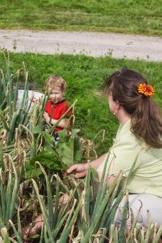weeding with mama